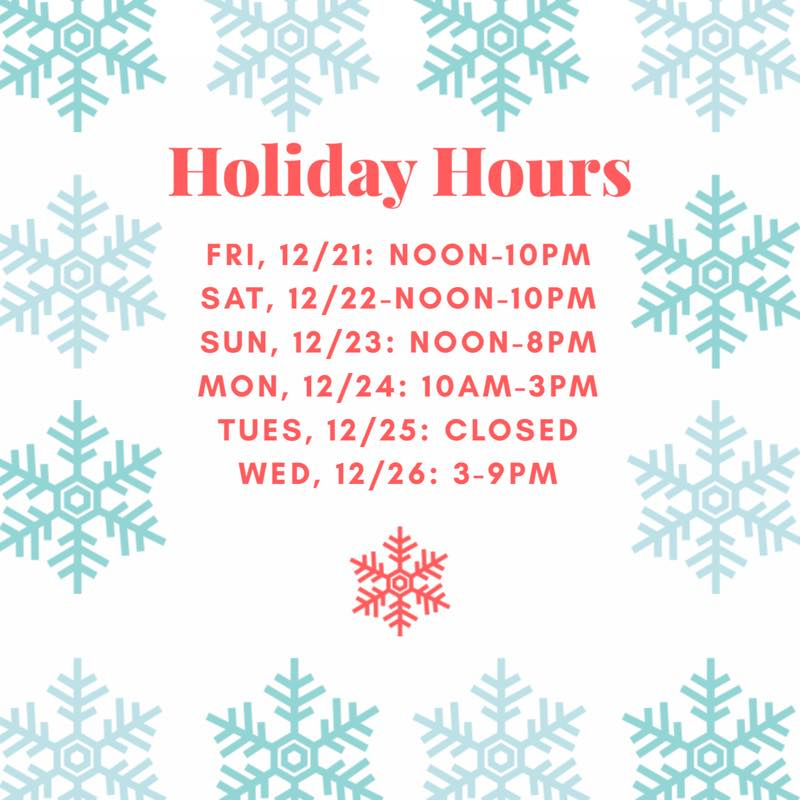2SP Brewery Holiday Hours 2018